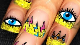 DIY Eye Nails   Bling Crowns + Lightning Nail Art Design Tutorial