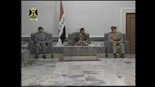 القائد صـدام حسين يستقبل أعضاء القيادة العامه للقوات المسلحة في ذكري ثورة تموز . من الارشيف النادر