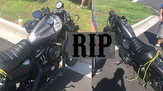 Aftermath of Harley Davidson Sportster Motorcycle Crash