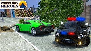 Lamborghini and Tree   Police Car Cartoon for Kids   Wheel City Heroes