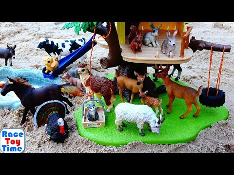 Wild and Farm Animals in the Schleich Tree House Playset For Kids Learn Animal Names