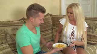 mom son eating some snacks. mom and son celebrating. mom and son party