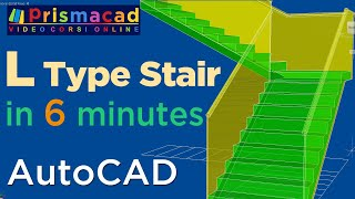 How to build a L-Type Stairs with AutoCAD in 6 minutes - Architecture