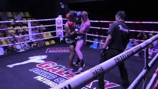 Ben (Sinbi Muay Thai) from England fights at Galaxy Boxing Stadium.