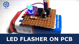 Flashing LED circuit using transistors on PCB - Basic Electronics Projects