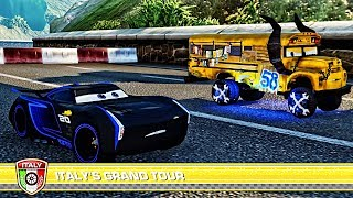 Cars 3 Driven to Win - Jackson Storm & Rich Mixon and Miss Fritter Battle Race - Lightning McQueen