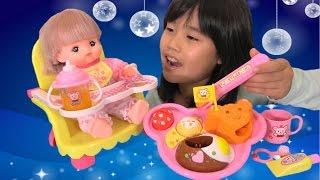 メルちゃん おもちゃ くまさんベビーチェアで おしょくじ&はみがきセット お子様ランチ おままごと Baby Doll Mellchan Baby chair & lunch Toy