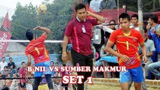Hujan smesh BNIL VS SUMBER MAKMUR Open turnamen Volly Ball Tugu Gajah Unit 4 Set 1