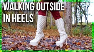 Walking on Leaves in White KNEE-HIGH Platform Boots!