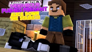 Minecraft BENDY'S LIFE #8 NEIGHBOUR PUSHES PREGNANT ALICE ANGEL DOWN THE STAIRS!!- Baby Leah