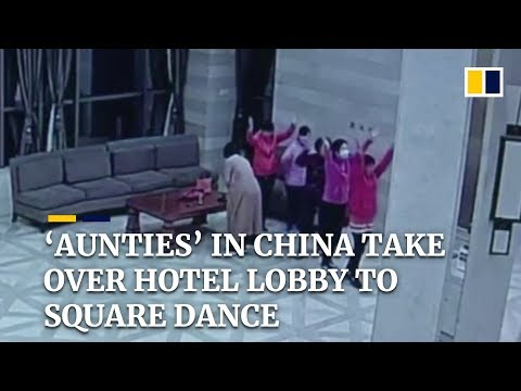 Chinese 'aunties' take over hotel lobby for square dancing