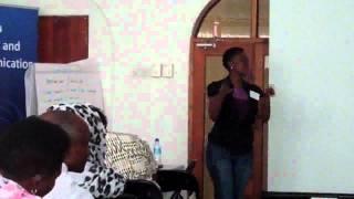 Vicensia Shule speaks at  MFDI-Tanzania TV workshop