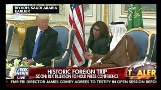 فوكس نيوز  تتحدث عن تحمل الملك سلمان و الرئيس ترمب و مصافحة ميلانيا و جودة  نقل التلفزيون السعودي