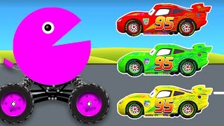 Learn Colors with Packman Cars Cartoon and Color Lightning McQueen - Colours Video for Children