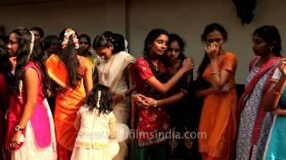 Happy faces of beautiful Tamil girls on Pongal
