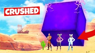 CRUSHED BY THE GIANT CUBE (its moving) - Fortnite Battle Royale
