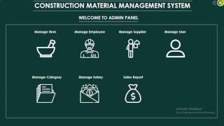 Construction Material Management Project With Animated Design C#