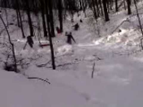 A Swarm of Sledders on State Road Next to Bob's Yurt
