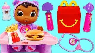 Disney Jr Doc McStuffins Baby Cece Eats McDonald's Happy Meal and Gets Sick!