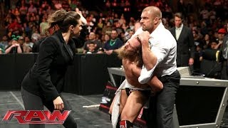 Triple H and Stephanie McMahon go after a handcuffed Daniel Bryan: Raw, March 17, 2014