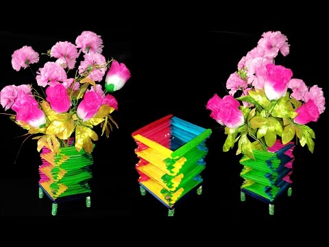 Ice Cream Stick Flower Vase Videos on ice cream sticks crafts, ice cream sticks chair, ice cream sticks lamps,