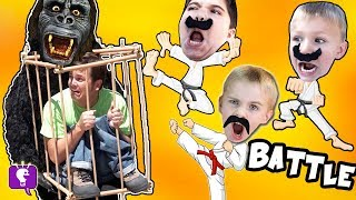 MEAN MONKEY CAPTURES DAD!! Big Banana Stinkos! HobbyKarate Toy Adventure Fun HobbyKidsTV