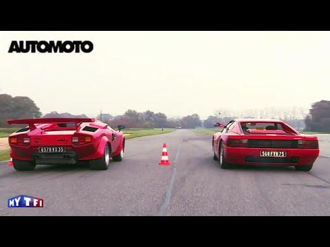 Défi la Ferrari Testarossa 390ch vs la Lamborghini Countach 375ch