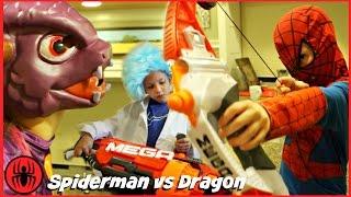 Spiderman vs Dragon Monster Nerf War w Thor Iron Man Superhero real life movie comics SuperHero Kids