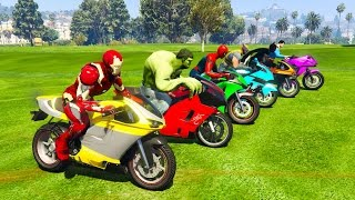Color Motorcycles with Superheroes for kids and babies  3D animation Funny Jump!