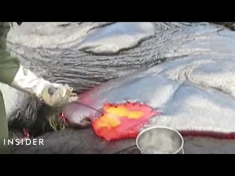 How Geologists Collect Lava Samples From Volcanoes