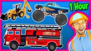 Videos for Kids 1 Hour Compilation - Fire Trucks | Monster Trucks | Backhoe - Blippi