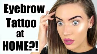 Tattooing My Own Eyebrows at HOME?! Peel Off Makeup Tattoo | STEPHANIE LANGE