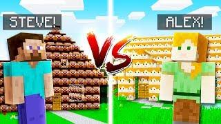 ALEX HOUSE VS STEVE HOUSE in MINECRAFT!