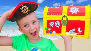 Children Found Toy Pirate Treasures Video for kids from Vlad and Nikita