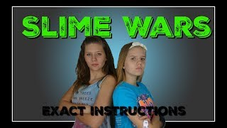 SLIME WARS EXACT INSTRUCTIONS || SLIME CHALLENGE || Taylor and Vanessa