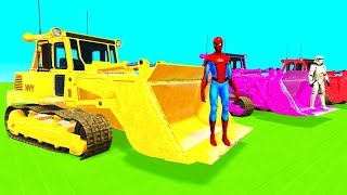 Learn Color BULLDOZER & CARS Superheroes Helicopter Spiderman Cartoon for Kids and Children