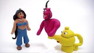 Disney Genie Create Princess Jasmine Play Doh Animation Movie Girls Stop Motion Video