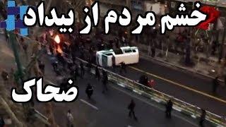 IRAN, Pahlavi Street, مردم خودروی پليس را واژگون کردند « خيابان پهلوي »؛