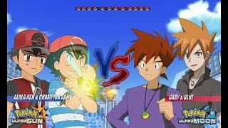 Pokemon Battle USUM: Alola Ash and Champion Ash Vs Gary and Blue