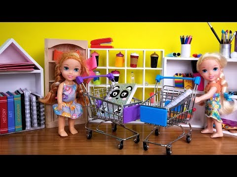 Back to School shopping Elsa and Anna toddlers buy supplies from store Barbie is seller