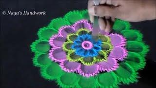 Rangoli Design - Free Hand Flower Rangoli - Color Rangoli Designs - Easy Rangoli designs