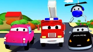 The Car Patrol: fire truck and police car and the lost Pickup Truck in Car City | Cartoon for kids