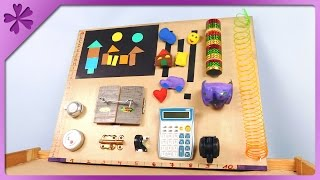 DIY Baby activity board, sensory board for toddler (ENG Subtitles) - Speed up #257