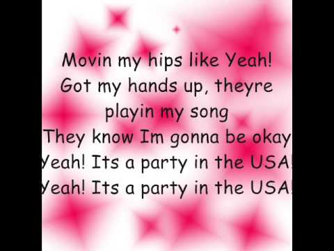 watch NEW! Miley Cyrus- Party in The USA {Lyrics!}