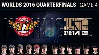 SKT vs RNG Game 4 Highlights, S6 Worlds 2016 Quarter final, SK Telecom T1 vs Royal Never Give Up G4