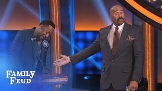 Hey DON'T SHOUT! Steve is BUSY! | Celebrity Family Feud | OUTTAKE