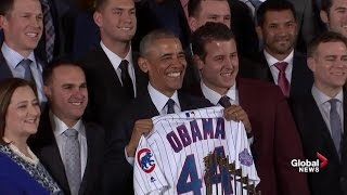 President Obama welcomes World Series champion Chicago Cubs for his last event as president