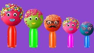 CakePop Cake pop Finger Family lollipop song, Candies, ball balloons colors learn