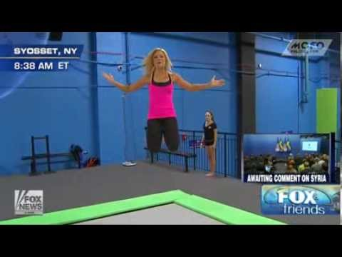 Fox News Anna Kooiman jumps up and down on a trampoline