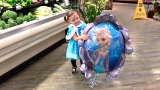 Baby Disney Frozen Elsa Shopping at the Supermarket   Let It Go Song   Popular Songs for Children